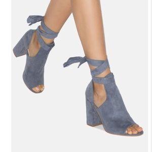Blue boho thick heels